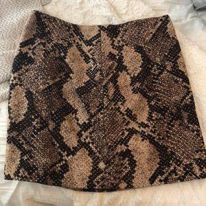 NWOT Brown snakeskin patterned skirt